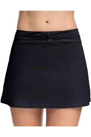 Profile by Gottex Moto Black Lace Up Cover Up Skirt