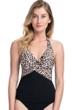 Profile by Gottex Wild Thing Leopard Black Halter Underwire Tankini Top