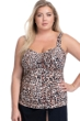 Profile by Gottex Wild Thing Leopard Plus Size Shirred Underwire Tankini Top