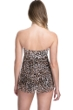 Profile by Gottex Wild Thing Leopard Black Twist Front Bandeau Strapless Flyaway One Piece Swimsuit