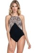 Profile by Gottex Wild Thing Leopard Black High Neck One Piece Swimsuit