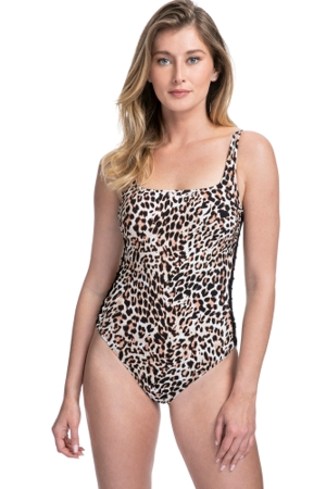 Profile by Gottex Wild Thing Leopard Side Shirred One Piece Swimsuit