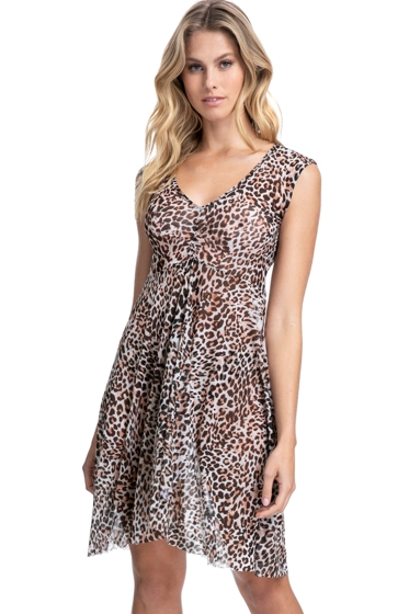 Profile by Gottex Wild Thing Leopard V-Neck Cap Sleeve Mesh Cover Up Dress