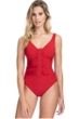 Profile by Gottex Bel Aire Paprika V-Neck Shirred Underwire One Piece Swimsuit