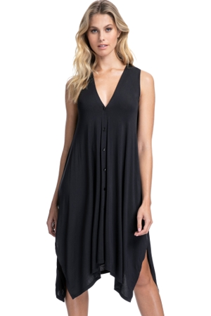 Profile by Gottex Bel Aire Black V-Neck Botton Down Dress