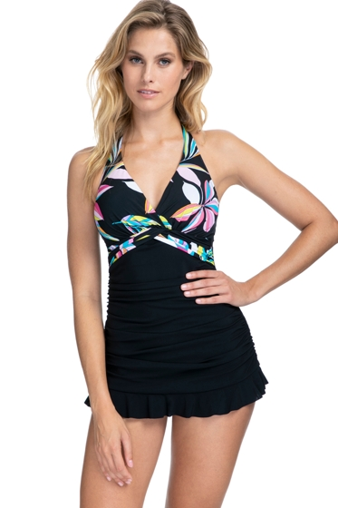 Profile by Gottex Paparazzi Black Halter Underwire Swimdress
