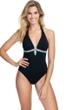 Profile by Gottex Paparazzi Black Deep V-Neck Halter One Piece Swimsuit