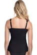 Profile by Gottex Ribbons Black D-Cup Textured Scoop Neck Shirred Underwire Tankini Top