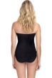 Profile by Gottex Ribbons Black Textured Bandeau Strapless One Piece Swimsuit