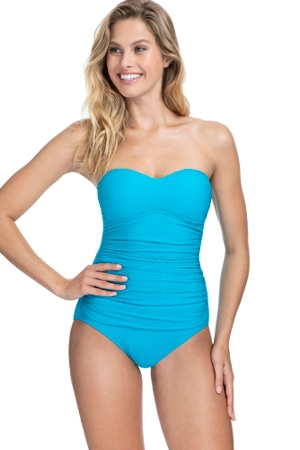Profile by Gottex Ribbons Azure Textured Bandeau Strapless One Piece Swimsuit