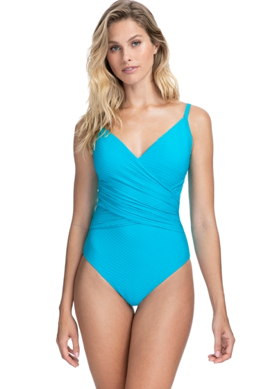 Profile by Gottex Ribbons Azure Textured V-Neck Surplice One Piece Swimsuit
