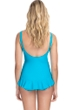 Profile by Gottex Ribbons Azure D-Cup Textured Wide Strap Underwire One Piece Swimsuit