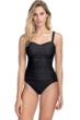 Profile by Gottex Ribbons Black D-Cup Textured Scoop Neck Shirred Underwire One Piece Swimsuit
