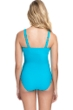 Profile by Gottex Ribbons Azure D-Cup Textured Scoop Neck Shirred Underwire One Piece Swimsuit