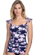 Profile by Gottex Sundance Navy and Pink E-Cup Scoop Neck Shirred Underwire Tankini Top
