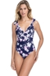 Profile by Gottex Sundance Navy and Pink V-Neck One Piece Swimsuit