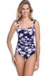 Profile by Gottex Sundance Navy and Pink D-Cup Scoop Neck Shirred Underwire One Piece Swimsuit