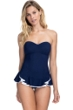 Profile by Gottex Belle Curve Navy V-Neck Peplum One Piece Swimsuit