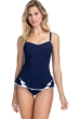 Profile by Gottex Belle Curve Navy D-Cup Scoop Neck Laser Cut Underwire Swimdress