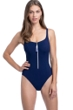 Profile by Gottex Zip it Up Navy D-Cup Scoop Neck Zip Front One Piece Swimsuit