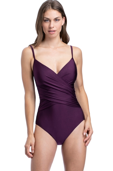 Profile by Gottex Satin Nights Wine V-Neck Surplice One Piece Swimsuit