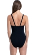 Profile by Gottex Set Sail Black Deep V-Neck Halter One Piece Swimsuit