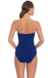 Profile by Gottex Blueberry Waterfall Shirred Bandeau One Piece Swimsuit