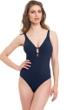 Profile by Gottex Java Navy V-Neck Macrame Back One Piece Swimsuit
