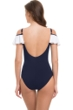Profile by Gottex Navy and White Tutti Frutti Gala Off the Shoulder Ruffle One Piece Swimsuit