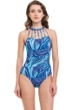 Profile by Gottex Quartzite Strappy High Neck One Piece Swimsuit