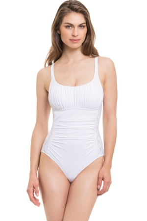 Profile by Gottex Allure White Lace Sides Square Neck One Piece Swimsuit