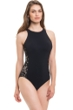 Profile by Gottex Allure Black Lace Sides High Neck One Piece Swimsuit