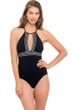 Profile by Gottex Hollywood Black Keyhole High Neck One Piece Swimsuit