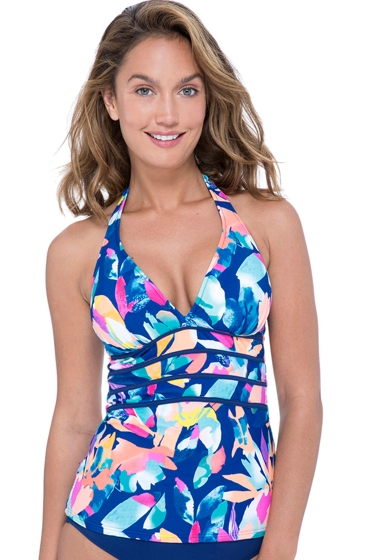 Profile by Gottex Bermuda Breeze V-Neck Halter Tankini Top