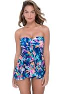 Profile by Gottex Bermuda Breeze Twist Front Bandeau Strapless Flyaway One Piece Swimsuit