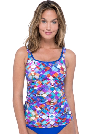 Profile by Gottex Via Veneto Scoop Neck Shirred Tankini Top