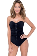 Profile by Gottex Moto Black Shirred Front Bandeau Strapless One Piece Swimsuit