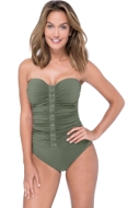 Profile by Gottex Moto Olive Shirred Front Bandeau Strapless One Piece Swimsuit