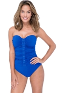 Profile by Gottex Moto Sapphire Shirred Front Bandeau Strapless One Piece Swimsuit