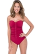 Profile by Gottex Moto Ruby Shirred Front Bandeau Strapless One Piece Swimsuit