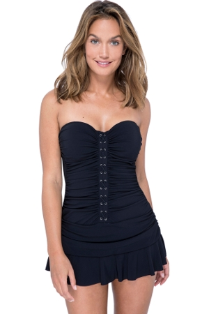 Profile by Gottex Moto Black Bandeau Strapless Shirred Swimdress