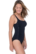 Profile by Gottex Moto Black Side Shirred One Piece Swimsuit