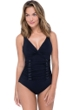 Profile by Gottex Moto Black V-Neck Shirred Underwire One Piece Swimsuit