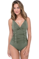 Profile by Gottex Moto Olive V-Neck Shirred Underwire One Piece Swimsuit