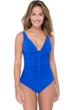 Profile by Gottex Moto Sapphire D-Cup V-Neck Plunge Shirred One Piece Swimsuit
