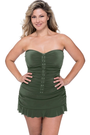 Profile by Gottex Moto Plus Size Cross Over Bandeau Strapless Swimdress