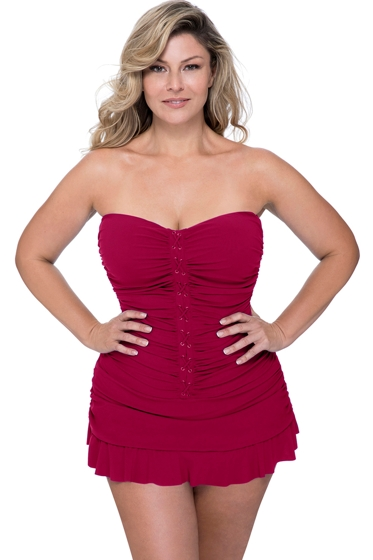 Profile by Gottex Moto Ruby Plus Size Cross Over Bandeau Strapless Swimdress