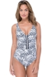 Profile by Gottex Tribal Batik Black and White V-Neck One Piece Swimsuit