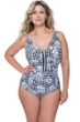 Profile by Gottex Tribal Batik Black and White Plus Size Mesh V-Neck One Piece Swimsuit