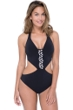 Profile by Gottex Labyrinth Black and White V-Neck Halter Cut Out One Piece Swimsuit